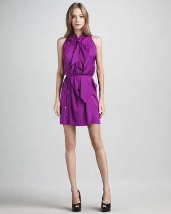 Diane von Furstenberg Morana Bow-Neck Draped Dress - Neiman Marcus :  purple dress summer dress sleeveless dress