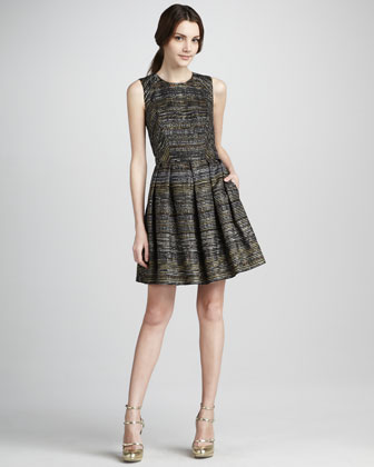 Shoshanna Bridgette Metallic Full-Skirt Dress - Neiman Marcus