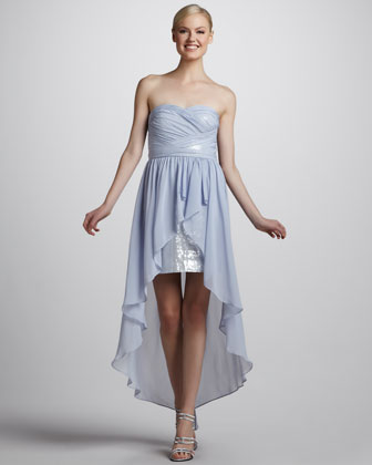 Strapless Cocktail Dress with Hi-Lo Hem