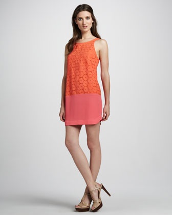 Sleeveless Eyelet Lace Combo Colorblock Dress