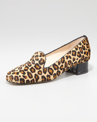 Fancy Leopard-Print Calf Hair Smoking Slipper