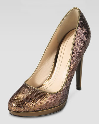 Chelsea Sequined High-Heel Pump, Bronze