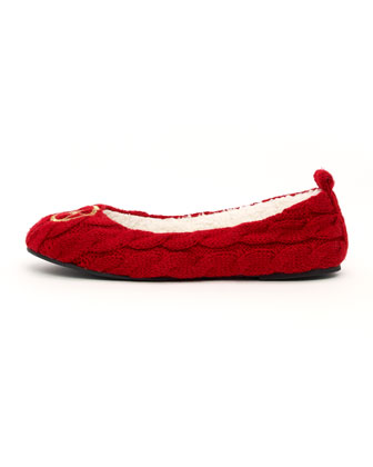 Michael Kors Jet Set Knit Ballerina Slipper :  flat knit shearling