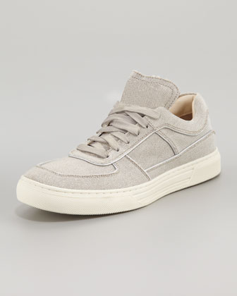 Toby Metallic Lace-Up Sneaker, Silver