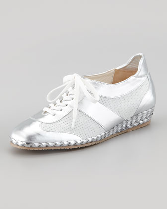 Tracy Perforated Metallic Sneaker, Silver