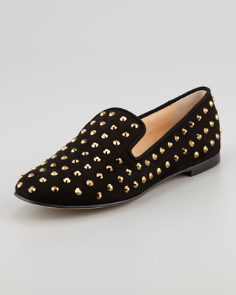 Crystal-Embellished Suede Smoking Slipper