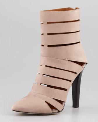 Debra Cutout Leather Bootie, Smoke