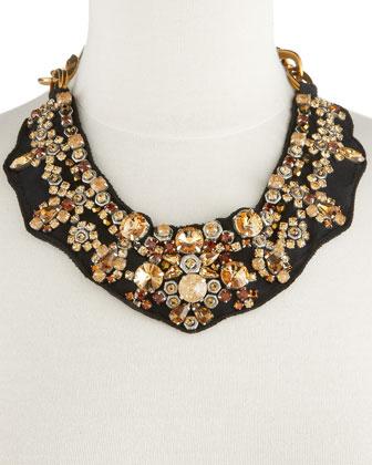 """Серьги-кольца с розовыми бусинами.  Ожерелье из камней от Prada / Прада  """"Stone Bib Necklace """"."""