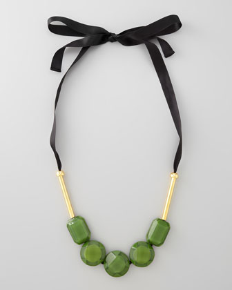 Resin Bead Ribbon Necklace, Garden Green