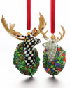 "MacKenzie-Childs ""Courtly Check"" Moose & ""Parchment Check"" Deer Ornaments"