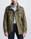 Burberry Prorsum Canvas Drop Funnel Collar Jacket, Oregano