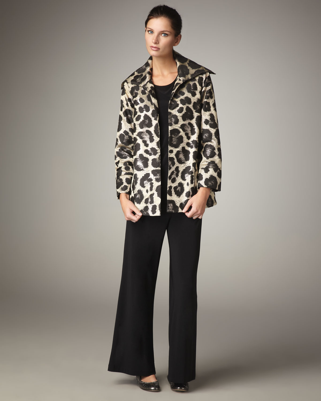 Caroline Rose Animal Print Jacquard Jacket, Stretch Knit Long Tank