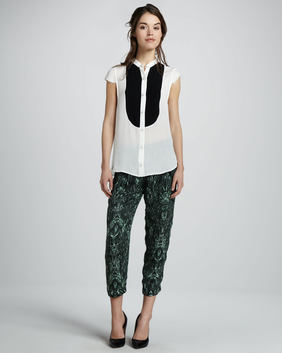 49BU Haute Hippie Cap Sleeve Button Down and Printed Cropped Trousers