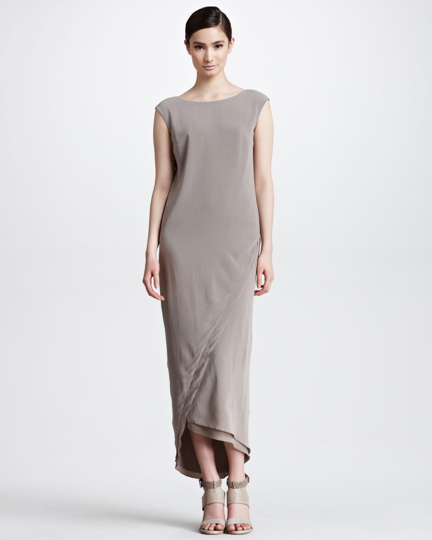 Brunello Cucinelli Long Silk Envelope Dress, Taupe