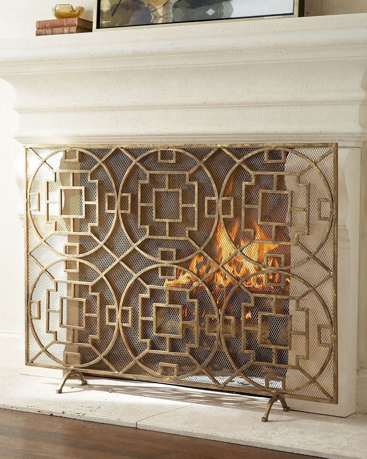 Iron Fireplace Cover.  Pyra Fireplace Screen Neiman Marcus