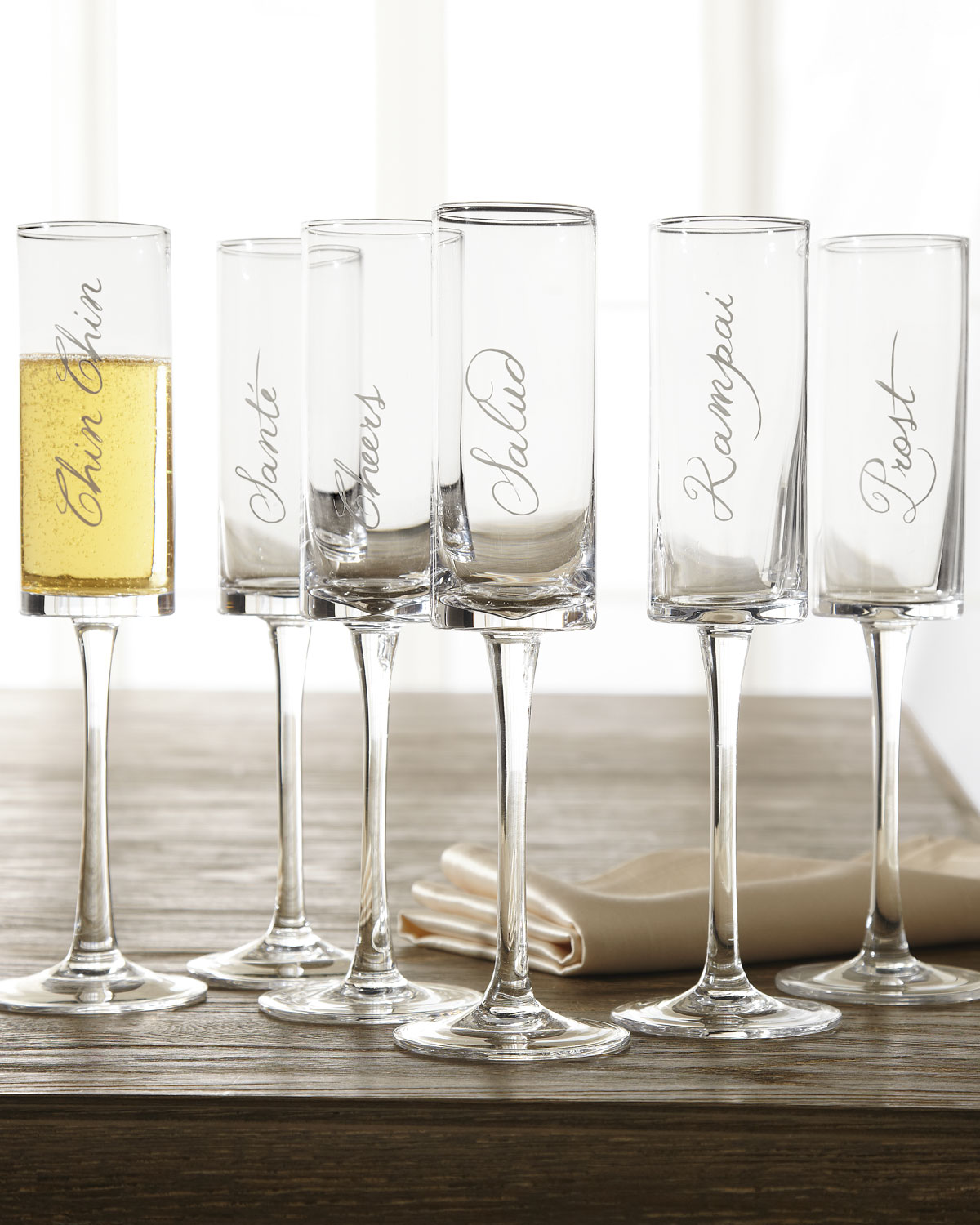 These Chic And Elegant Cheers Champagne Flutes Are The Perfect Addition To Your Wedding Registry