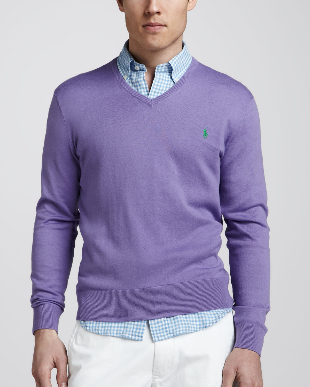 Purple SweaterHampton V Cotton Cashmere Neck D2Ye9bWHIE