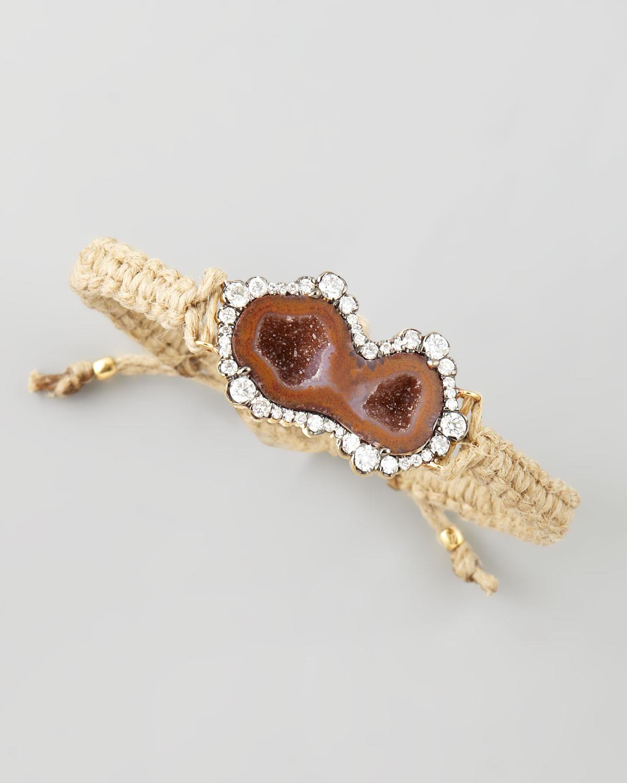 Double-Geode & Diamond Macrame Bracelet, Hemp