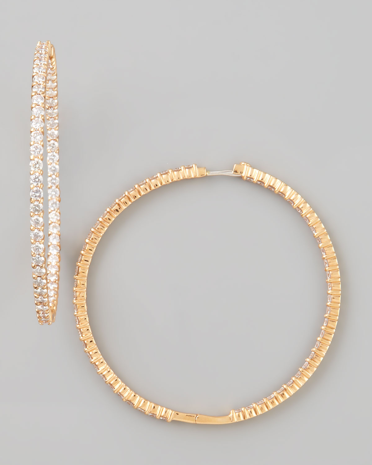 59mm Rose Gold Diamond Hoop Earrings, 7.55ct