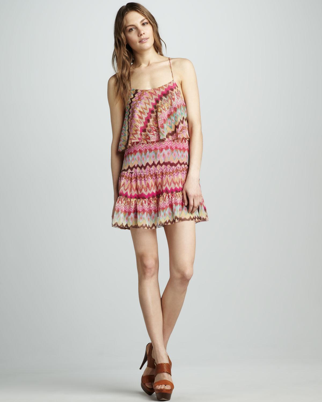 Haute Hippie Ruffle Printed Dress