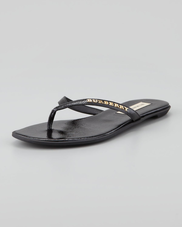 55c0c8bfa5e7 Burberry Patent Leather Flip Flop