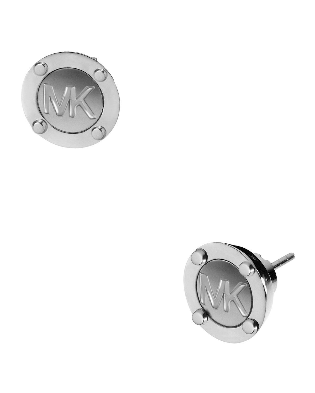 Astor Stud Logo Earrings Silver Color