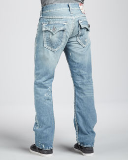 True Religion Ricky Super-T Straight Jeans, Verde Valley