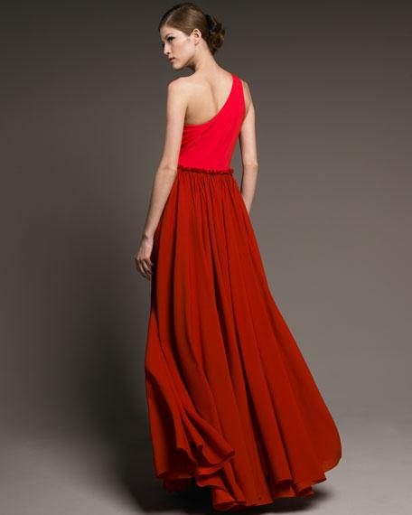 Bi-Color One-Shoulder Gown