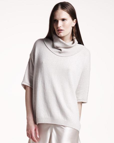Oversized Paillette Sweater, Vanilla