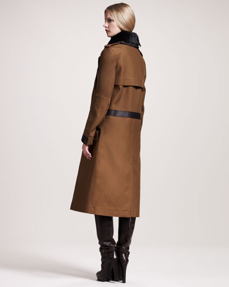 Hayle Shearling-Collar Officer's Coat