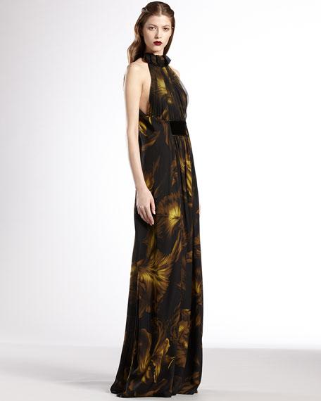 Printed Silk Georgette Ruffle Halter Gown