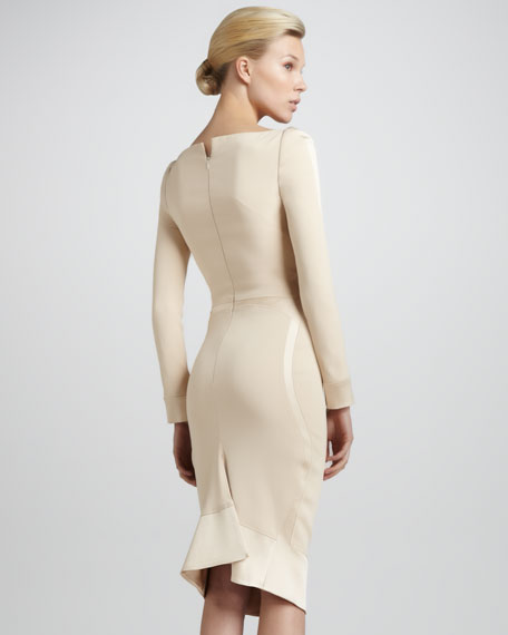 Satin-Panel Long-Sleeve V-Neck Dress