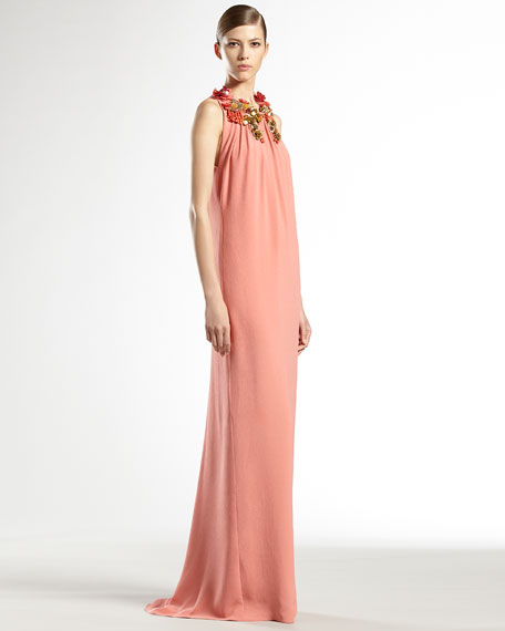 Hand-Embroidered Floral Silk Gown