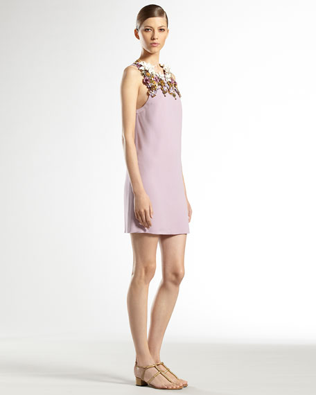 Hand-Embroidered Floral Silk Sleeveless Dress