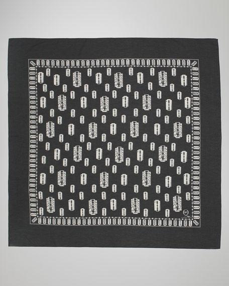 Razor Blade-Print Scarf, Black/White