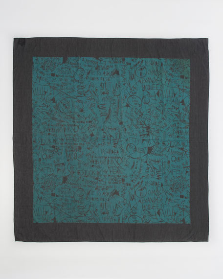 Graffiti-Print Cotton-Silk Scarf