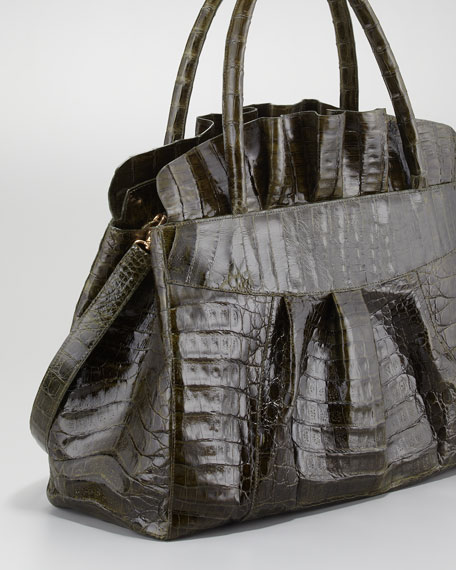 Ruffled Crocodile Medium Tote Bag, Olive