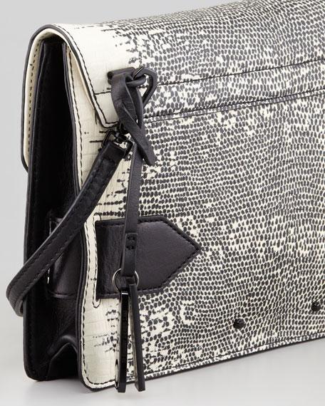 Lizard-Print Folio Clutch Bag, Natural