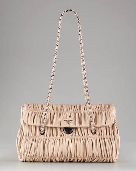 Medium Flap Ruched Leather Shoulder Bag