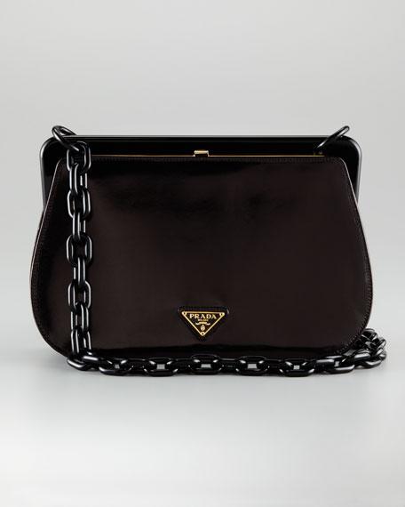 Small Faux-Tortoise Frame Bag