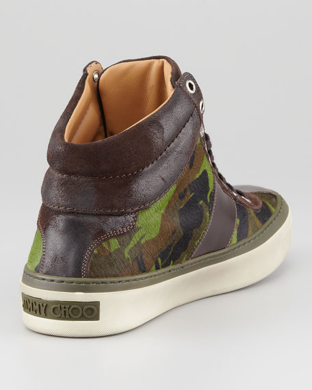 Camouflage Calf Hair High-Top Sneaker