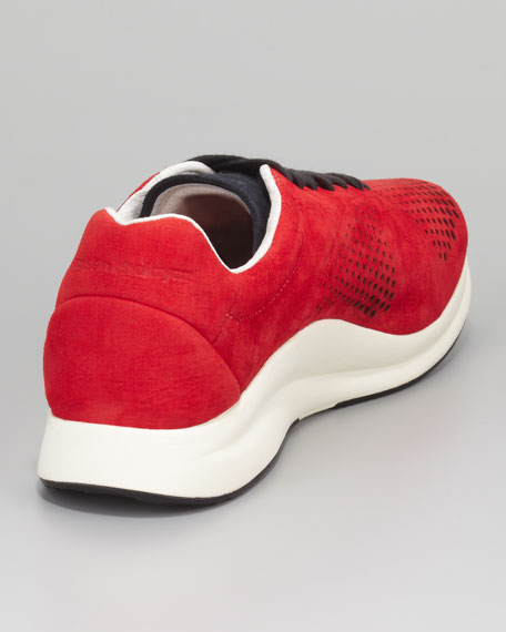 Winter Haast Perforated Suede Sneaker, Red