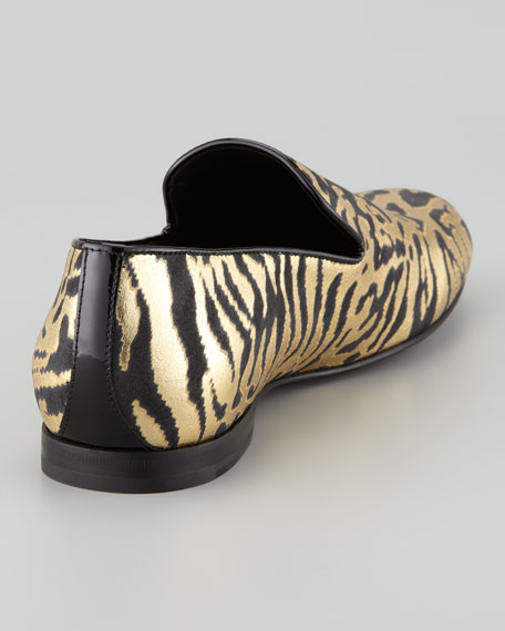 Sloane Men's Zebra-Print Metallic Slipper