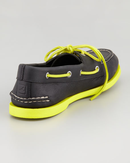Neon Leather Boat Shoe, Black/Green