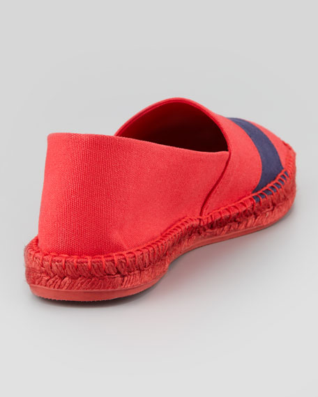 RL67 Striped Canvas Espadrille, Red