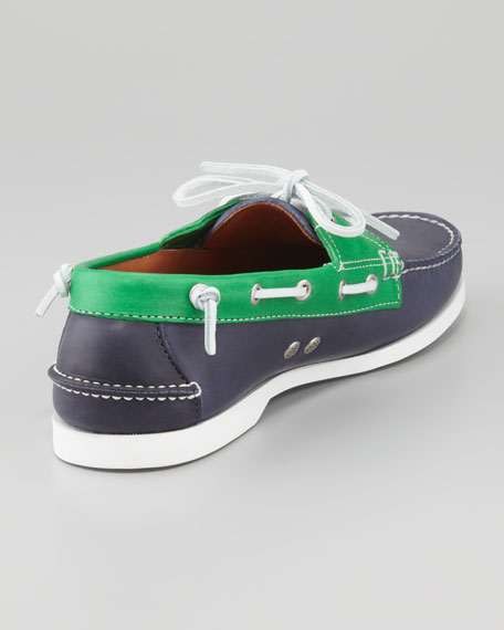 Two-Tone Leather Boat Shoe, Navy/Green