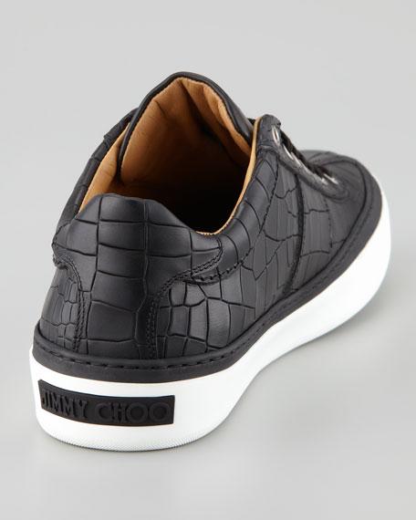 Portman Crocodile-Embossed Leather Sneaker, Black