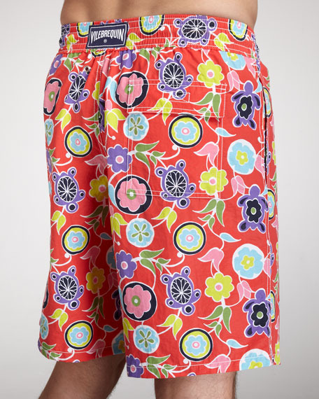 Okoa Turtle Boardshorts, Red