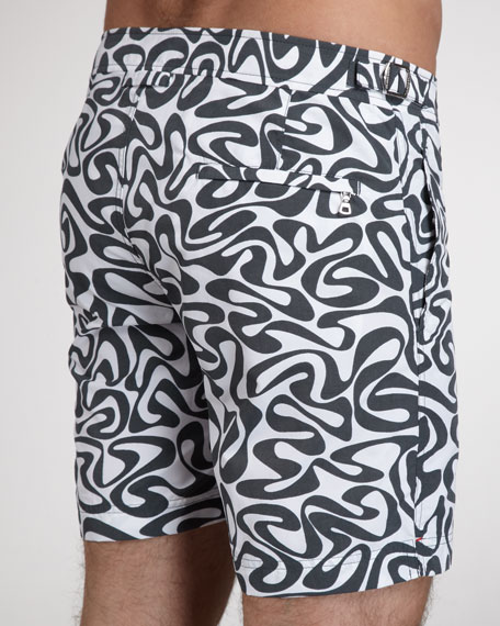 Bulldog Water-Print Swim Shorts, Gull Gray