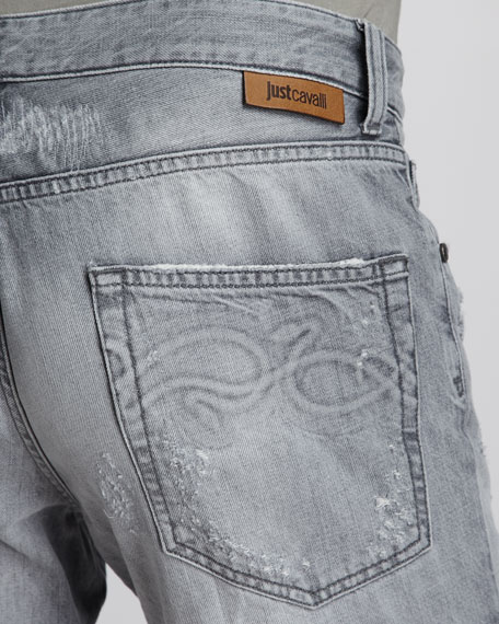 Distressed Stone-Wash Jeans